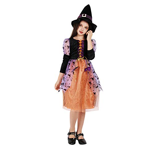 Girls Witch Costume Glamour Queen Kids Halloween Dress Deluxe Set -Princess(2-4 Year)
