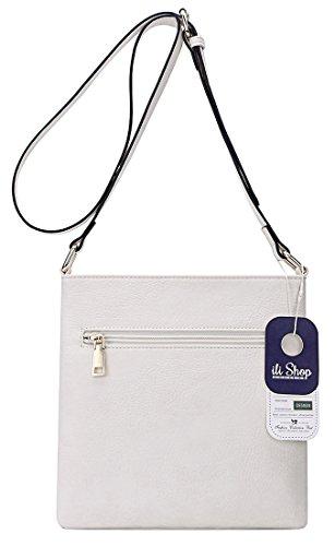 Pockets Functional ilishop for Crossbody PU Bag Leather Multi Women White OFZCqS