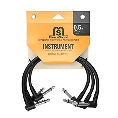 Miracle Sound Guitar Patch Cable for Pedalboard Effects with Right Angle Plug 0.5 Feet 3-pack Ideal Electric Guitar and Bass Livewire Cable from Miracle Sound