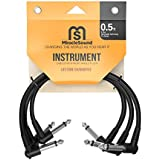 Premium Quality Sound Guitar Instrument Effects Cable for Pedalboard with Right Angle Plug - 0.5 Feet - 3-pack - Ideal Electric Guitar and Bass Livewire Cable - Pristine Sound -