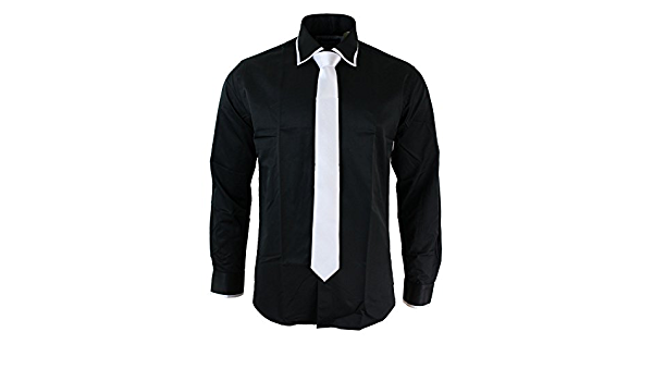 Camisa & Corbata Satin Seda Trim Ajustada Caballero Blanco ...