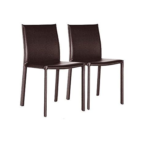 Amazon.com: goneril Parsons silla (Set de 2) Tapicería: café ...