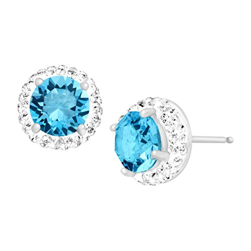 Crystaluxe March Stud Earrings with Light Blue Swarovski Crystals in Sterling Silver