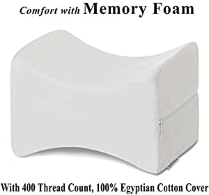 InteVision Knee Pillow with, 400 Thread Count, 100% Egyptian Cotton Cover