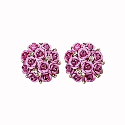 Fashion Earrings, UMFun Jewelry Bohemia Flower Rhinestone Earrings For Women (25g Jewelry)