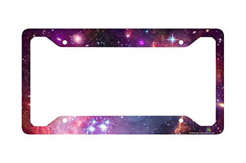 Airstrike Space Galaxy License Plate Frame, Stars Car Tag Frame, Universe License Plate Holder, Outer Space Nebula Cute License Plate - Frame Outer Design