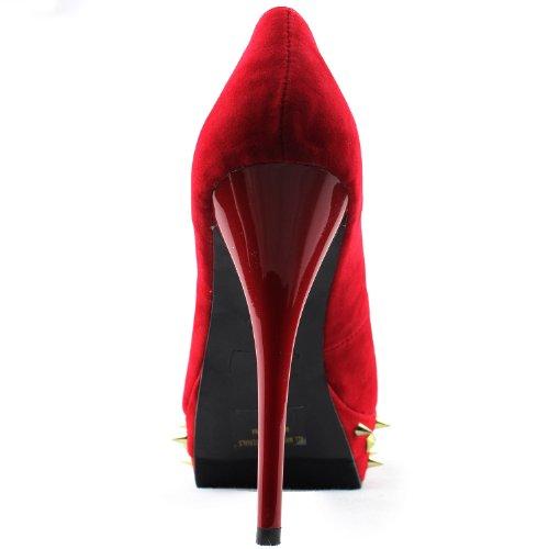 Fashion Pumps Womens Fahrenheit Velvet Red 02E Platform Studs Shoes Landi Yq1Aq7awP