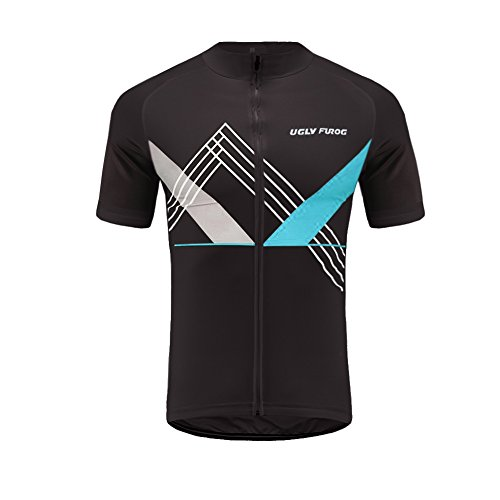 Uglyfrog Designs Mens Cycling Short Sleeve Quick Dry Bike Jersey - Breathable Basic Shirts for Sports Full Zip Bicycle Jacket with Pockets
