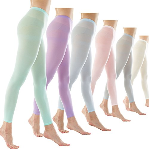 Women's 80Denier Semi Opaque Solid Color Footless Pantyhose Tights 6pair (X-Large, 6PAIR - Lt Pink/Mint/Lt Blue/Lt Gray/Lavender/Ivory)
