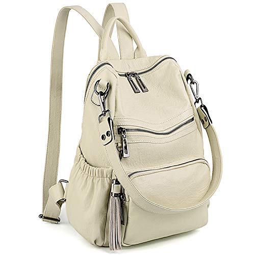 UTO Women Backpack Purse PU Washed Leather Convertible Ladies Rucksack Tassel Zipper Pocket Shoulder Bag Cream