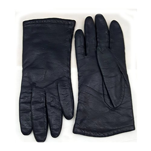 Vintage Womens Acrylic Lined Pinpoint Embossed Black Leather Gloves Size Small