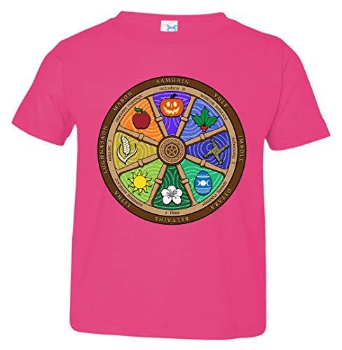 Tenacitee Toddler's Colorful Pagan Year Wheel T-Shirt, 3T, Hot Pink -