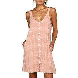 Asvivid Womens Casual Spaghetti Strap V Neck Sleeveless Button Down Loose Striped Mini Dress with Pocket