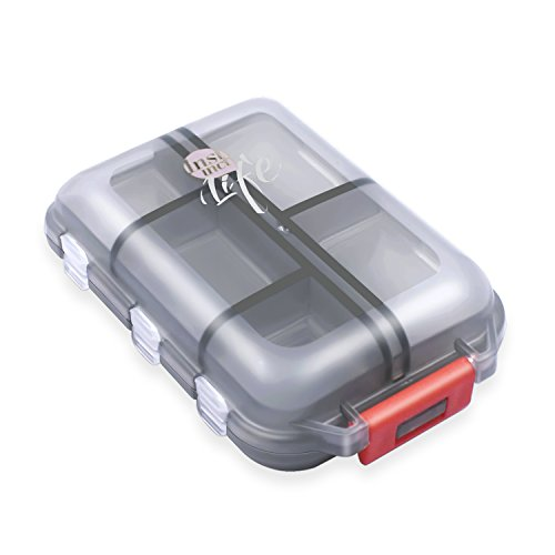 SHD Pocket Pill Case 10 Compartment Plastic Medicine Box for Outdoor Travel - Excursion Case