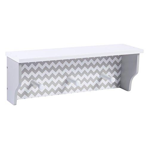 Trend Lab Chevron Shelf with Pegs, Dove Gray