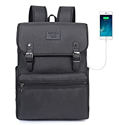 Laptop Backpack Men Women Business Travel Computer Backpack School College Bookbag Stylish Water Resistant Vintage Backpack with USB Port Fashion Black Fits 15.6 Inch Laptop and Notebook