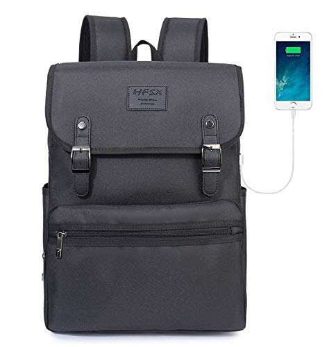 (Laptop Backpack Men Women Business Travel Computer Backpack School College Bookbag Stylish Water Resistant Vintage Backpack with USB Port Fashion Black Fits 15.6 Inch Laptop and Notebook)