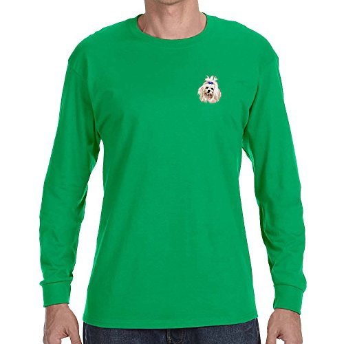 Cherrybrook Dog Breed Embroidered Long Sleeve Mens T-Shirts - X-Large - Irish Green - Maltese