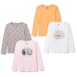 Amazon Brand – Spotted Zebra Girls' Toddler & Kids 4-Pack Long-Sleeve T-Shirts