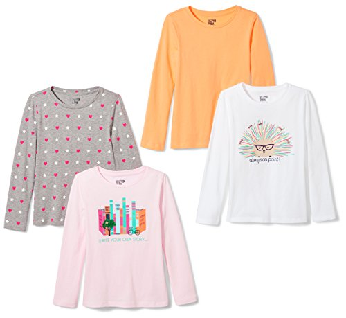 Spotted Zebra Girls' Little 4-Pack Long-Sleeve T-Shirts, Wri