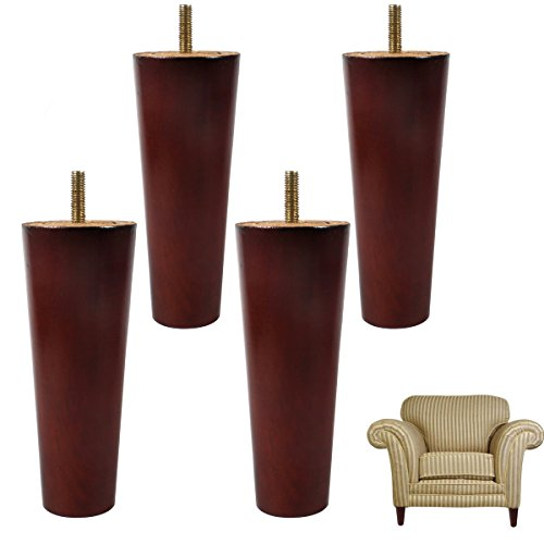 6 inch Wood Furniture Legs Pre-drilled M8 Screws Burgendy Cone Shape Sofa Legs - 4' Classic Wooden Bench