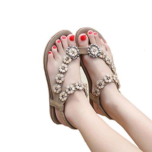 Shybuy Flat Sandal, Women Ladies Beach Sandals Slingback Ankle Strap Rhinestone Flower Flats Thong Slipper (8.5, Khaki)