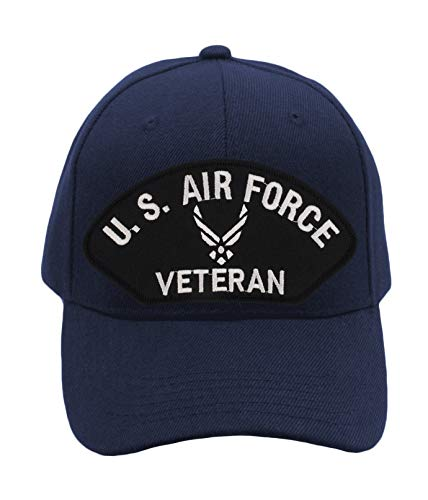 Patchtown US Air Force Veteran Hat/Ballcap Adjustable One Size Fits Most (Multiple Colors & Styles) (Navy Blue, Add American Flag)