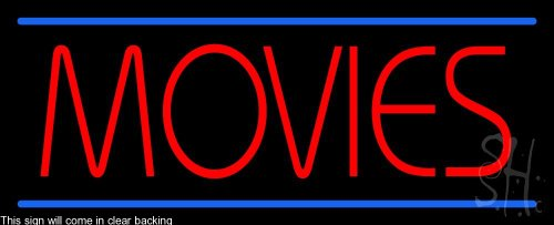 Movies Clear Backing Neon Sign 13'' Tall x 32'' Wide by The Sign Store