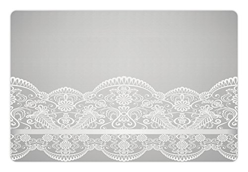 Renaissance Paisley - Lunarable Grey Pet Mat for Food and Water, Victorian Fashion Style Wedding Ethnic Mesh Paisley Motif Renaissance Kitsch Artwork Print, Rectangle Non-Slip Rubber Mat for Dogs and Cats, White