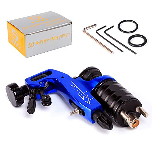 WOOLIY Rotary Tattoo Machine Gun Aluminium Frame with Adjustable Cartridge Tattoo Grip,Blue