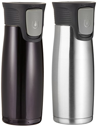Contigo AUTOSEAL® Locking Stainless Steel Travel Mug 2 pack Stainless / Black by Contigo