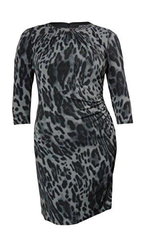 - Tahari Women's Albert Chain Detail Animal Print Jersey Dress (16W, Dove/Black)