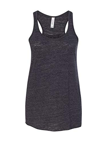 Bella+Canvas Women's Flowy Racer Back Light Tank Top, Large, Black Slub