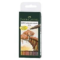 Faber-Castel FC167106 Caja de 6 PITT Artista Terra Plumas, Tinta India, Caja B
