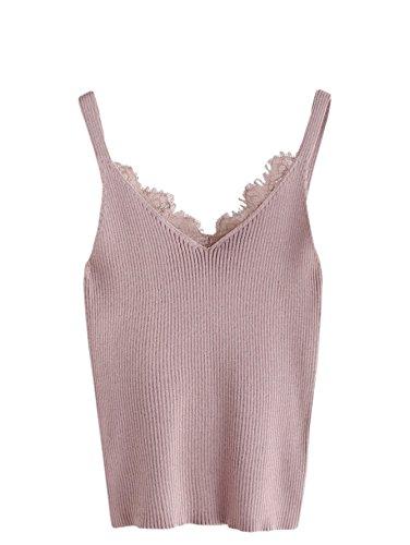 MAKEMECHIC Women V Neck Lace Trim Sleeveless Knit Cami Tank Crop Top 4 one-Size
