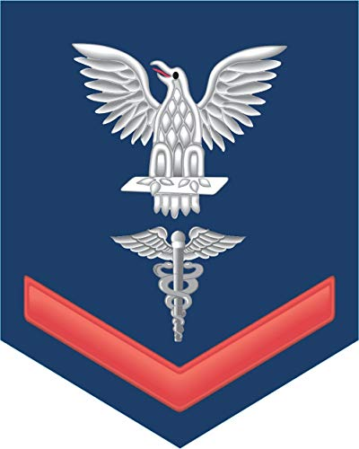 US Navy E-4 Hospital Corpsman Red Stripe Military Veteran Served Window Bumper Sticker Vinyl Decal 3.8