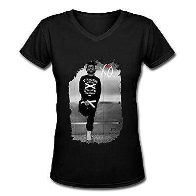 HO The Weeknd Tour 2015 Fan Logo V Neck T Shirt For Women Black
