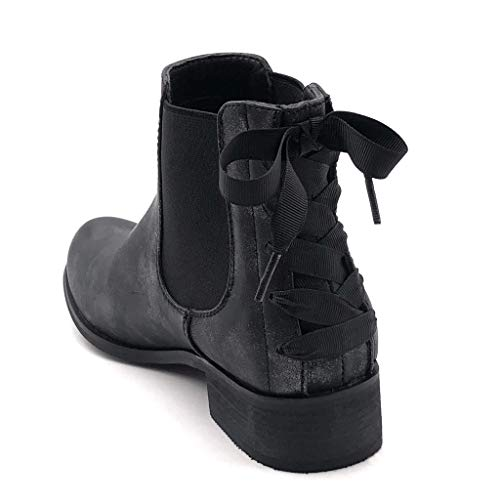 Femme Lacets Angkorly Noir Talon Chaussure Noeud Mode Bottine Motard Boots 3 Chelsea Rock Moto Cm Glam Motarde Bloc 5 PPvxnw