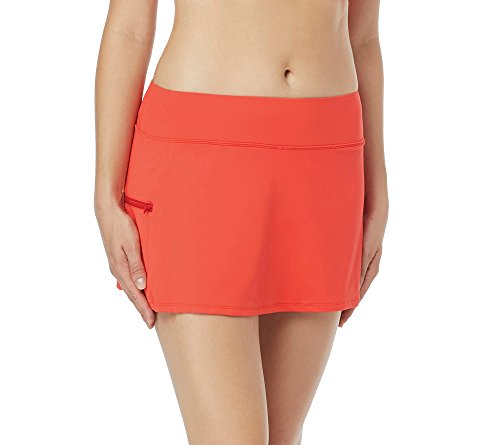 Beach House Women's Emma Skort Swimsuit Bottom with Short Underneath, Beach Solids Sunset Coral, 16