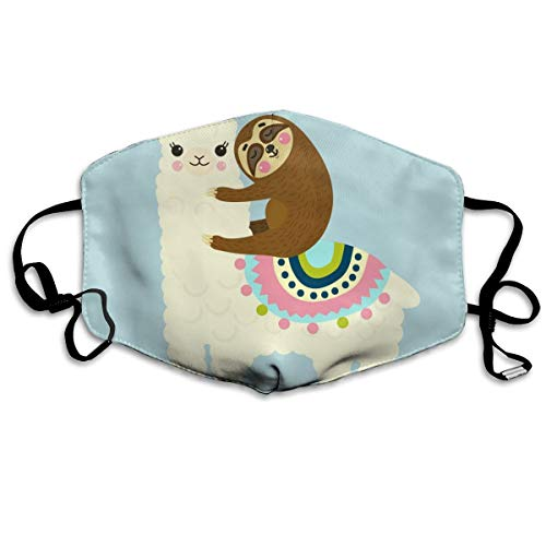 Dust Mask Cartoon Camel and Sloth Fashion Anti-dust Reusable Cotton Comfy Breathable Safety Mouth Masks Half Face Mask for Women Man Running Cycling Outdoor