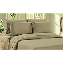 Bamboo Living Eco Friendly Egyptian Comfort Bedding 6 Piece Sheet Set (w/4 Pillowcases) (Taupe, Double/Full)