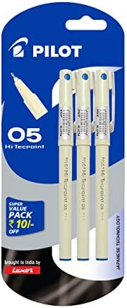 Pilot Hi-Techpoint 05 Super Value Pen - Pack of 3, Blue