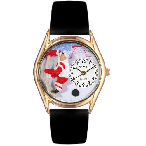 Whimsical Watches Kids' C0820002 Classic Gold Hockey Black Leather And Goldtone Watch by Whimsical Watches