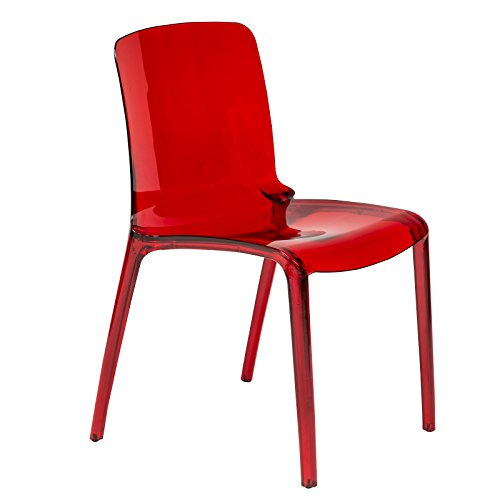 LeisureMod Adler Mid-Century Modern Dining Side Chair in Transparent Red