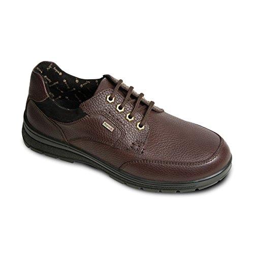 scarpa in pelle impermeabile Padders Men Terra | profonda e ampia | Made in Britain | Extra grande larghezza di GH | 35 millimetri tallone | calzascarpe libero Marrone