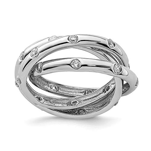- 925 Sterling Silver Cubic Zirconia Cz Rolling Band Ring Size 8.00 Fine Jewelry Gifts For Women For Her