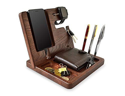 Wood Phone Docking Station Oak Key Holder Wallet Stand Watch Organizer Men Gift Husband Wife Anniversary Dad Birthday Nightstand Purse Father Graduation Male Travel Idea Gadgets Solid