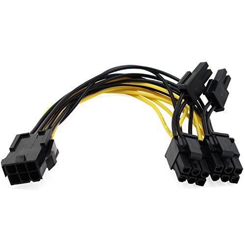 AIKE PCI Express 6 pin to 2 x PCIe 8 (6+2) Graphics Card PCI-e Express VGA Splitter Power Extension Cable 5 Pack by Aike® (Image #1)