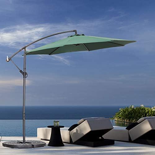 Klismos 10FT Patio Cantilever Umbrella 360 Rotation Outdoor Hanging Umbrella Offset Market Umbrella with Crank Cross Base Green