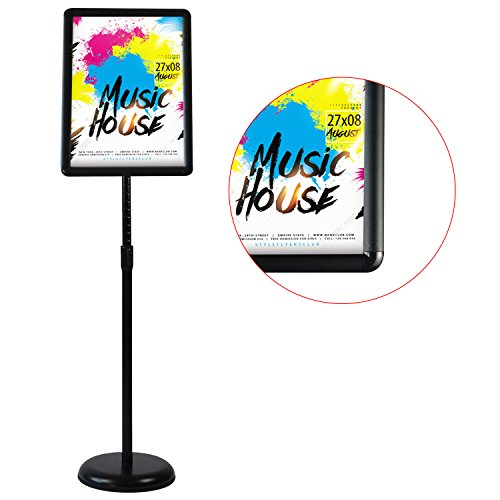 HUAZI pedestal sign stand vertical and horizontal poster displayed snap-open frame with safety corner for 8.5x11 inches graphic black color store sign (Flat Base Sign Holder)